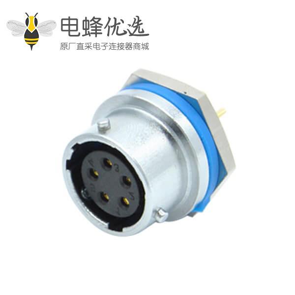 5芯航空插座RA20直式后锁穿墙圆形连接器母头