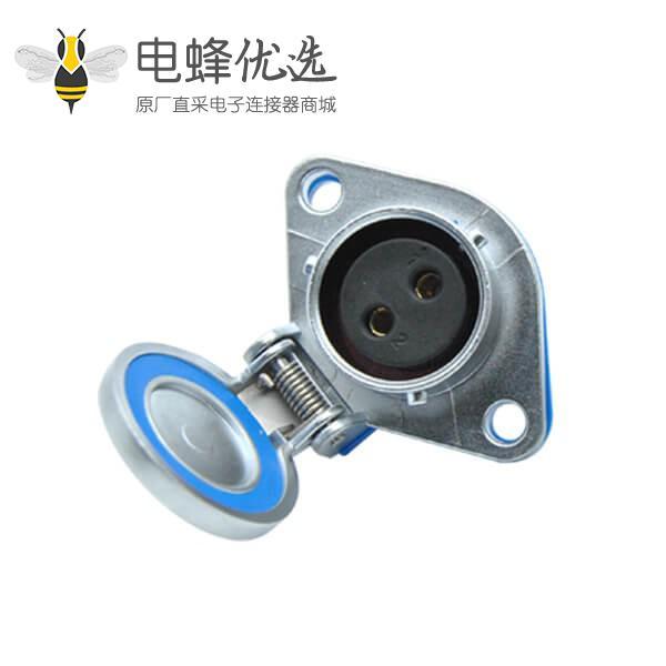 2芯插座母头RA20防水工业连接器菱形法兰