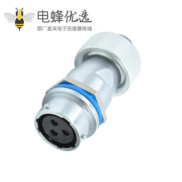 三芯航空插座工业防水RA20直式对接金属软管连接器母座
