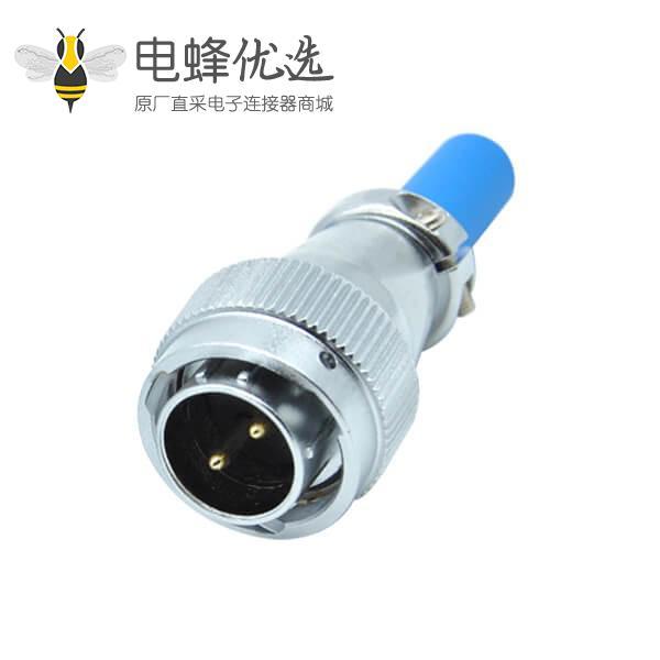 航空插头公头+2芯RA20电缆护套工业防水连接器