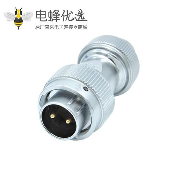 2芯航空插头螺帽锁紧防水工业RA20连接器公头