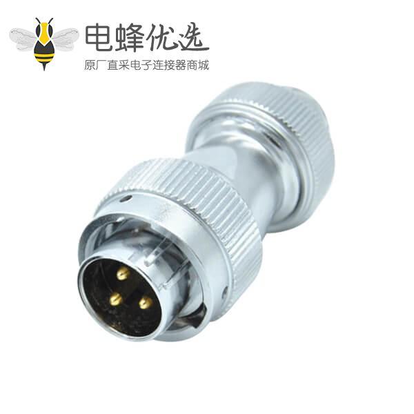 3芯防水航空插头工业公头RA20直式螺帽锁紧连接器