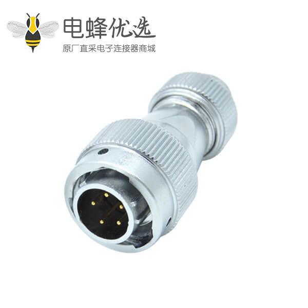 5芯航空插头RA20直式螺帽锁紧防水圆形连接器公头