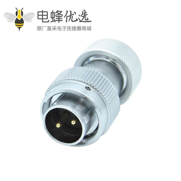 航空插头公头+2芯RA型20金属软管防水连接器