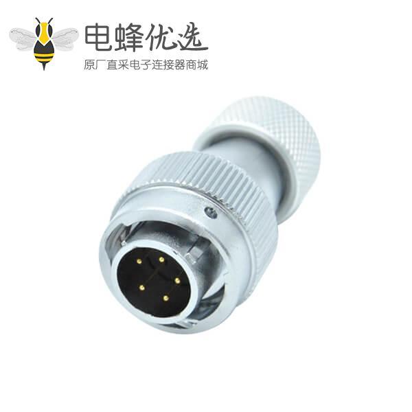 5芯航空插头金属直式软管RA20工业防水连接器公头