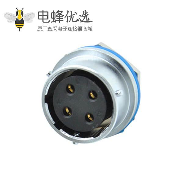 圆孔四芯插座母座件RA24后锁面板安装圆形连接器