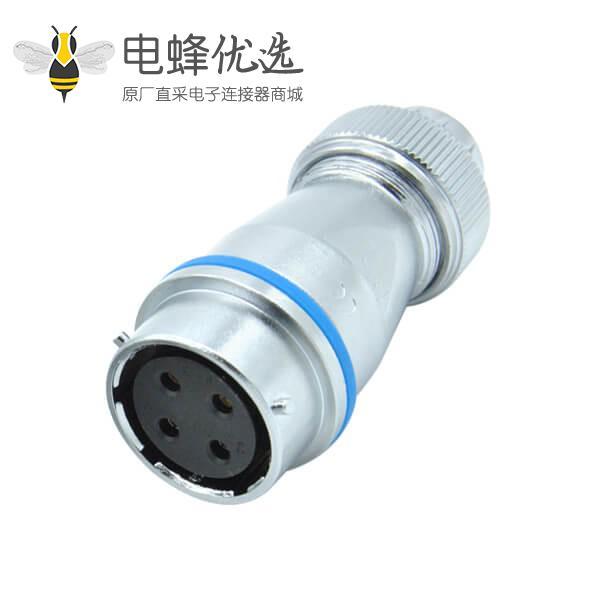圆孔四芯插座圆形工业母航空RA24螺帽锁紧对接插座连接器