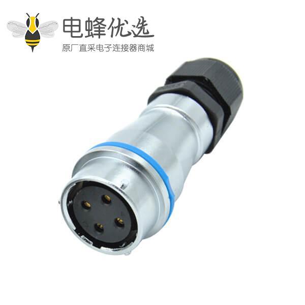 圆孔四芯插座PG防水对接母头RA24圆形工业连接器