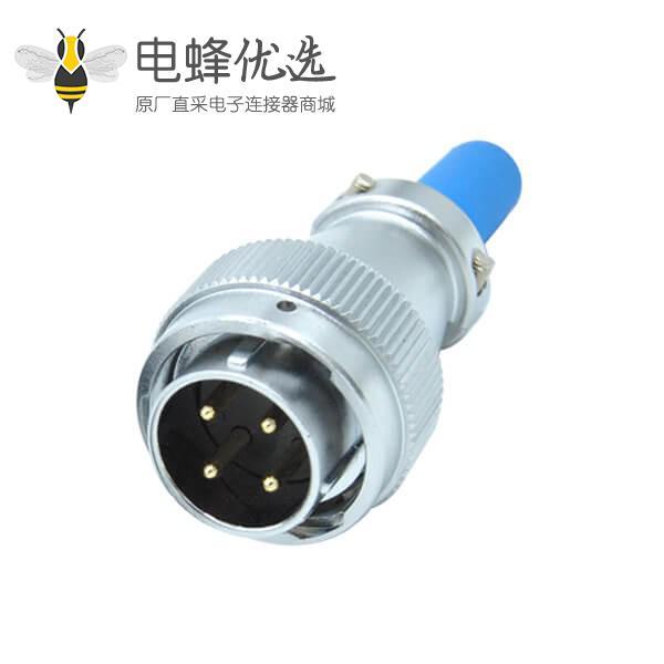 四芯防水航空插头公头电缆护套RA24圆形工业连接器