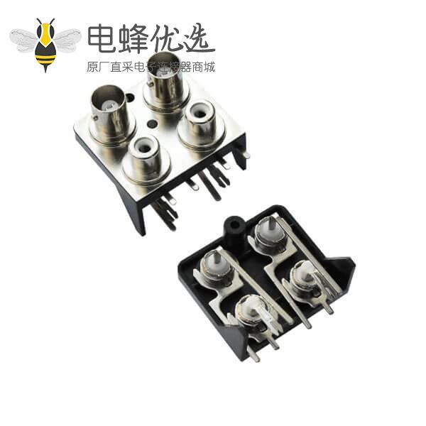 pcb连接器插座 带RCA弯式射频同轴 BNC连接器