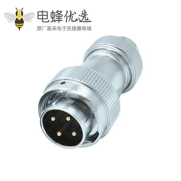 四芯防水航空插头RA24直式螺帽锁紧公头圆形工业连接器