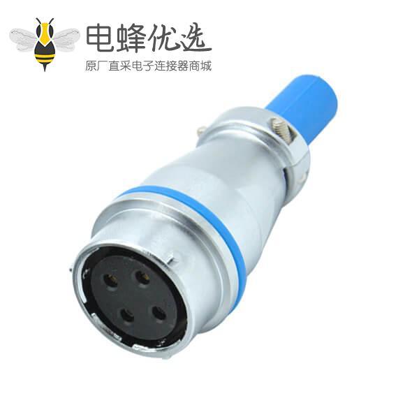 四芯航空插座母座電纜護套對接防水RA24圓形工業連接器
