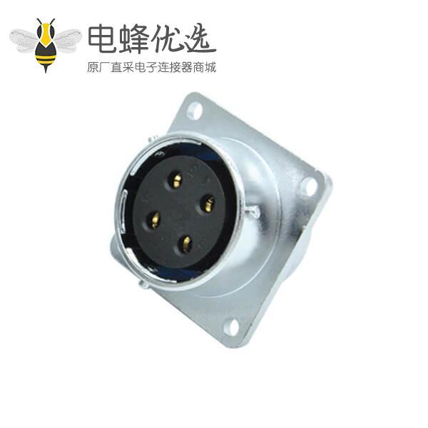 四芯航空插座4孔方形法兰RA24母头工业连接器