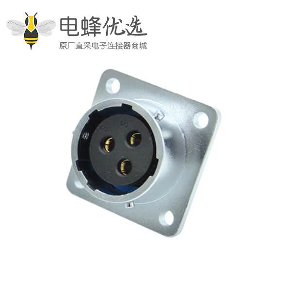 三芯航空插座母RA28圆形工业四孔方形法兰连接器