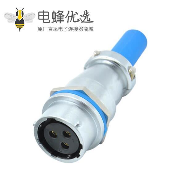 三芯航空插座圆形工业母RA28电缆护套对接连接器