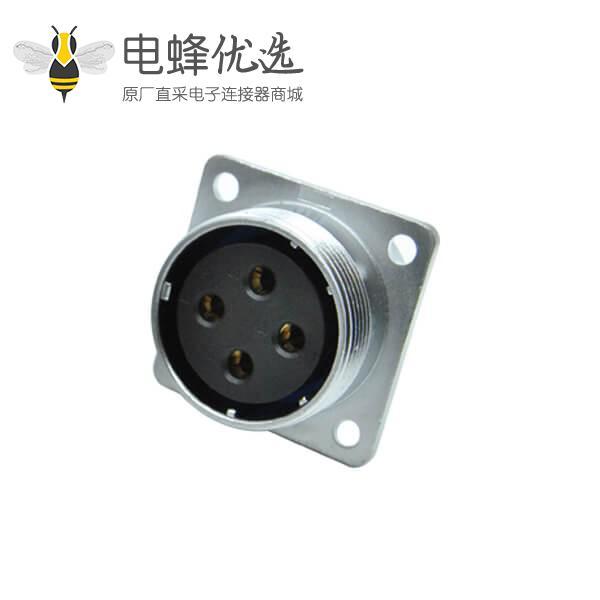 四芯航空插座RA32四孔方形法兰圆形工业连接器母头