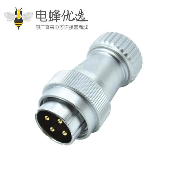 四芯防水航空插头公头RA32直式工业圆形螺帽锁紧连接器