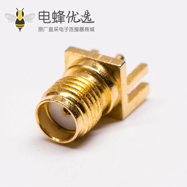 sma射频同轴连接器边缘卡板直式镀金母头