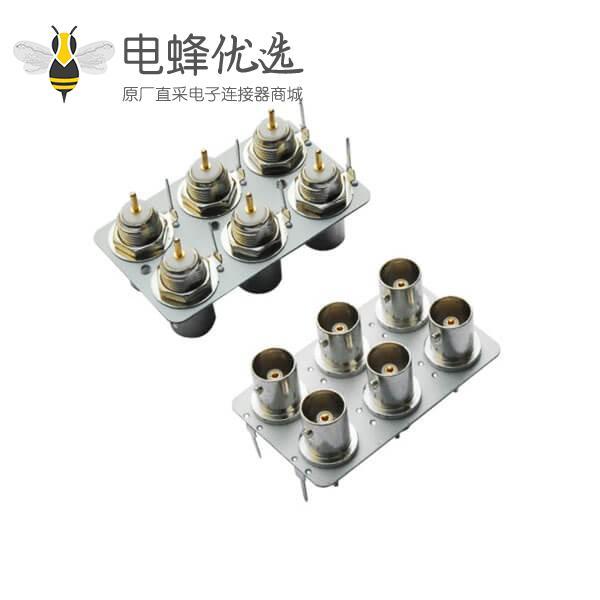 pcb 插座6同轴射频直式母头 BNC连接器