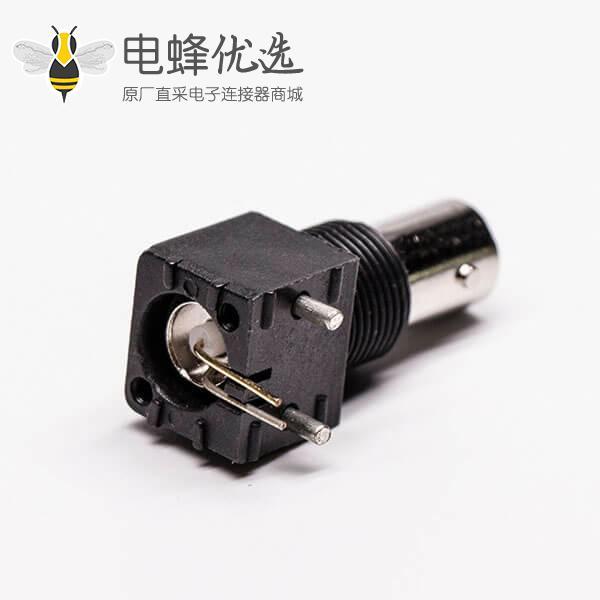 bnc插座 黑色外壳塑胶 弯式射频同轴连接器PCB