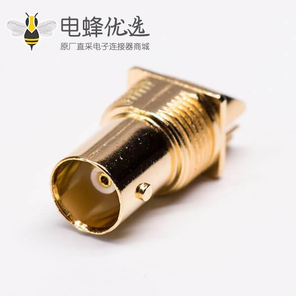 镀金PCB贴板 直式母头 BNC射频同轴连接器