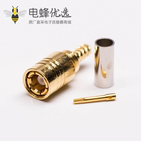 SMB射频同轴连接器镀金公头压接RG316线材