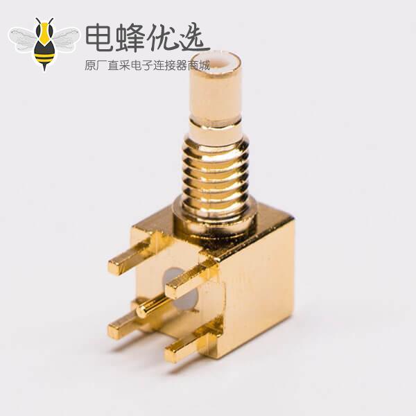 SMB 母头带螺纹接板镀金射频同轴连接器