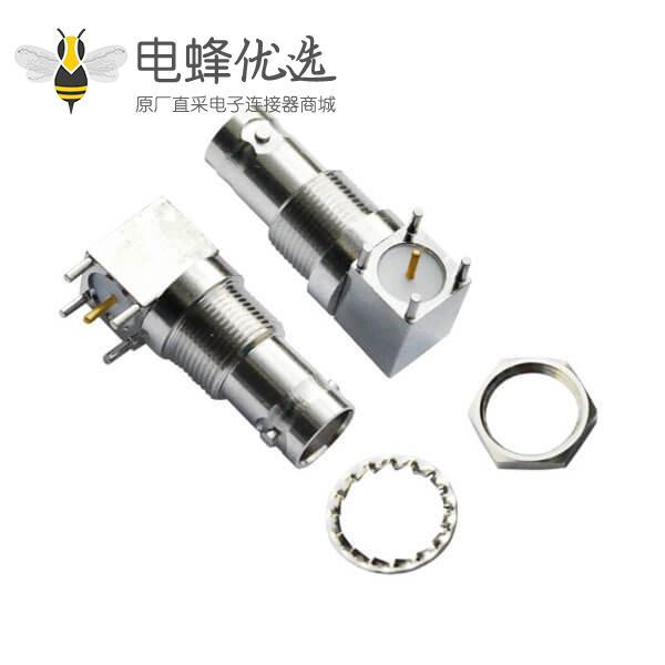 bnc同轴电缆连接器 50欧姆 方形5引脚 弯式母头 PCB板