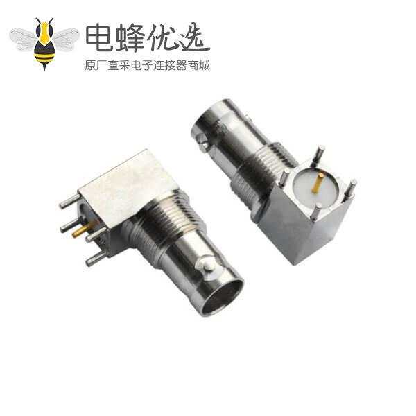 BNC方头5引脚锌合金弯式同轴射频连接器PCB