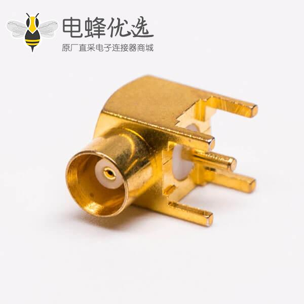 MCX母头90度射频同轴连接器接PCB板
