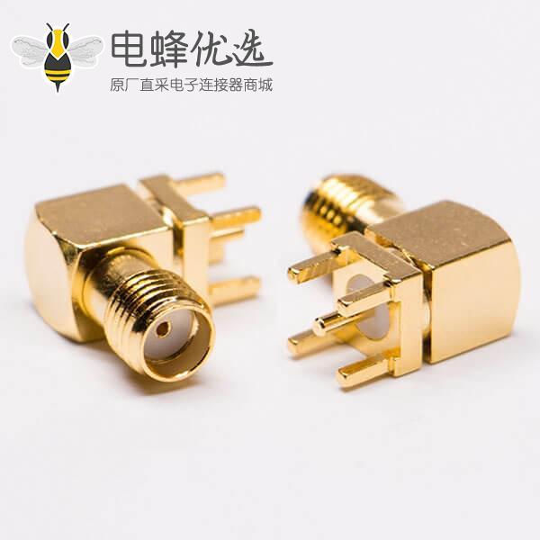 sma母座弯头PCB端穿孔式插座连接器