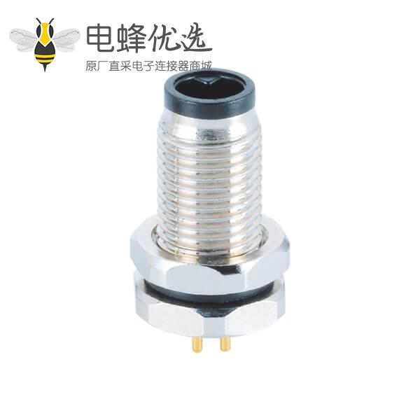 M5连接器3/4芯板端前锁公座直式插孔接PCB航空