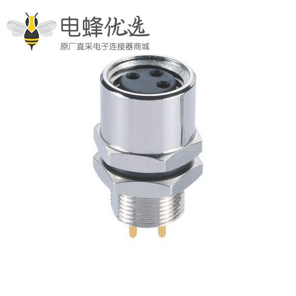 M8传感器接头A型3/4/6/8芯直式穿墙后锁防水接PCB板母座
