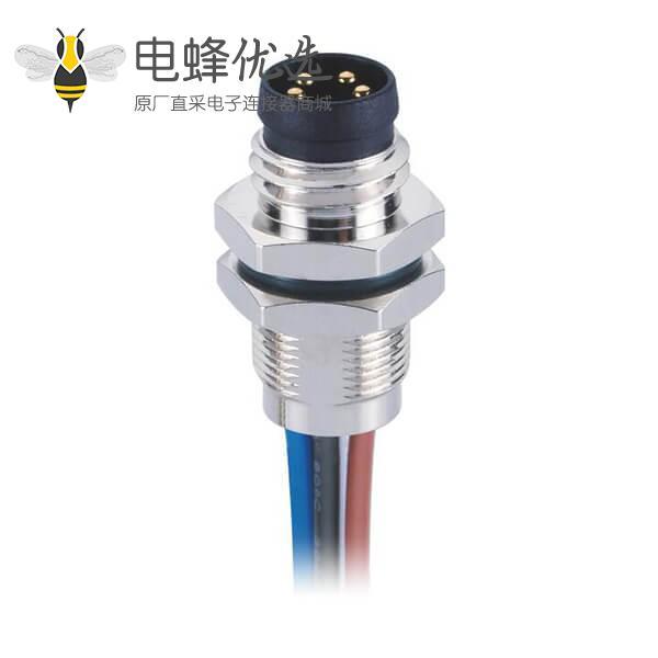 M8传感器电缆后锁板直式焊接航空防水A型连接器公插座