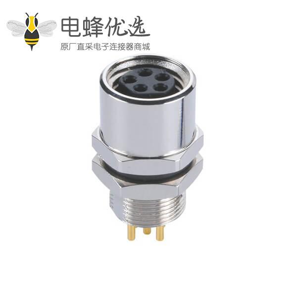 传感器接头M8圆形连接器B型5芯防水板端后锁接PCB板母插座