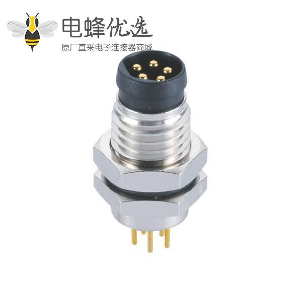 M8螺纹防水接头B型5芯公针板端座子前锁直式插座连接器