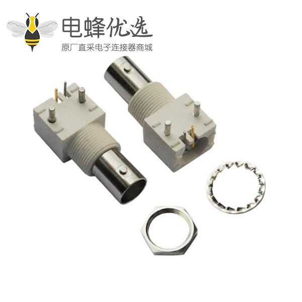 bnc 连接器 压电 90度白色塑胶外壳绝缘母头 PCB