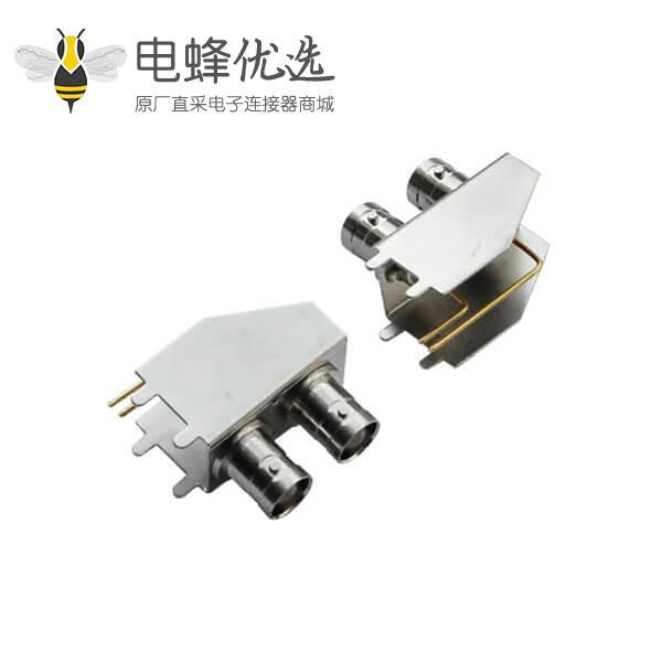 bnc母座 弯式射频同轴 锌合金 PCB板端