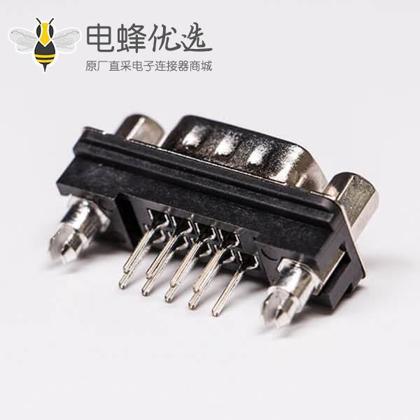 DB9连接头标准型公头直式接PCB板穿孔黑胶