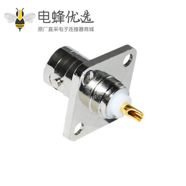 4孔方形法兰母头直式 锌合金 BNC射频同轴连接器