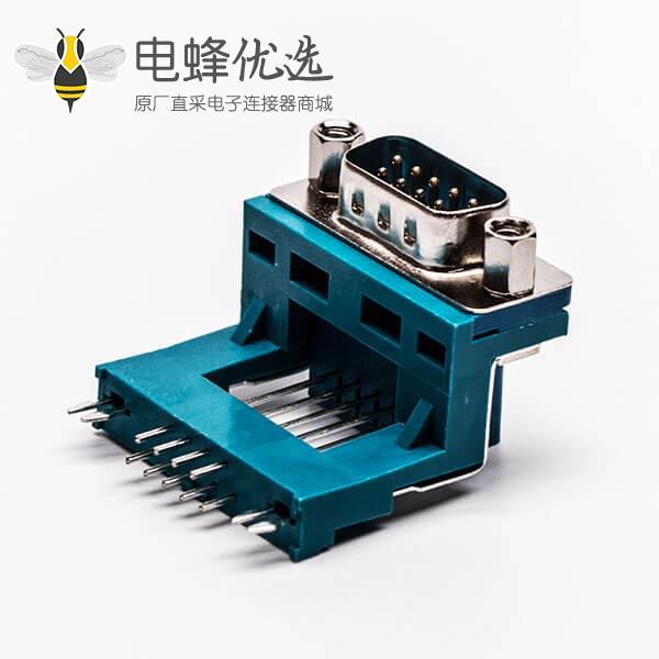 D-SUB连接器封装公座9针弯式三脚架铆锁绿胶