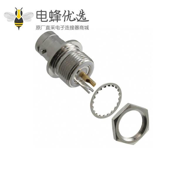 直式穿墙锌合金BNC射频同轴连接器母头