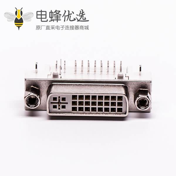 dvi24+5连接器母头弯角带螺母插板带鱼叉