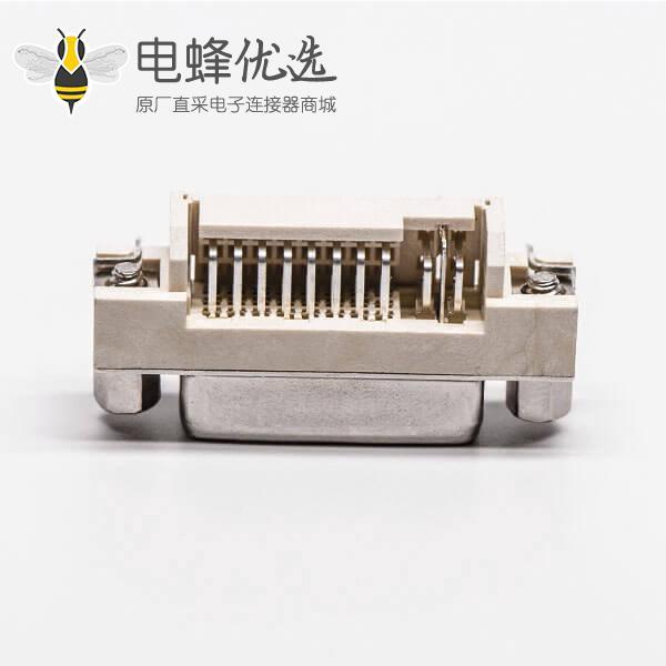 连接器dvi24+5弯头带螺母插板母头带鱼叉