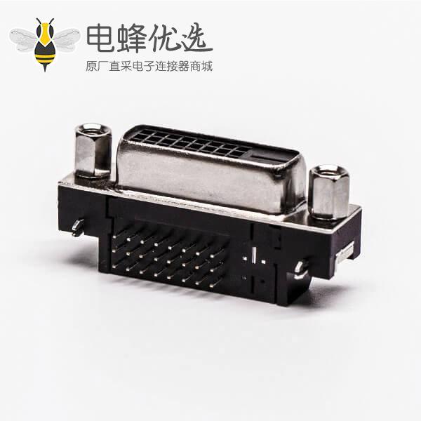 24+1dvi接口D型母头带螺母弯角插板黑色胶芯带鱼叉