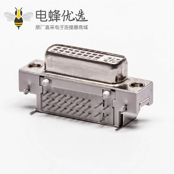 dvi接口面板弯式母头鱼叉白色胶芯插板接PCB板