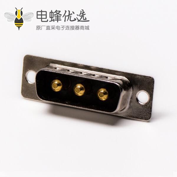 D SUB大电流接头3W3焊线式光孔铆锁混接公座