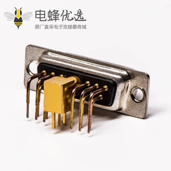 DB11w1射频公座90°焊板光孔带铆锁弯式黑胶接PCB连接器