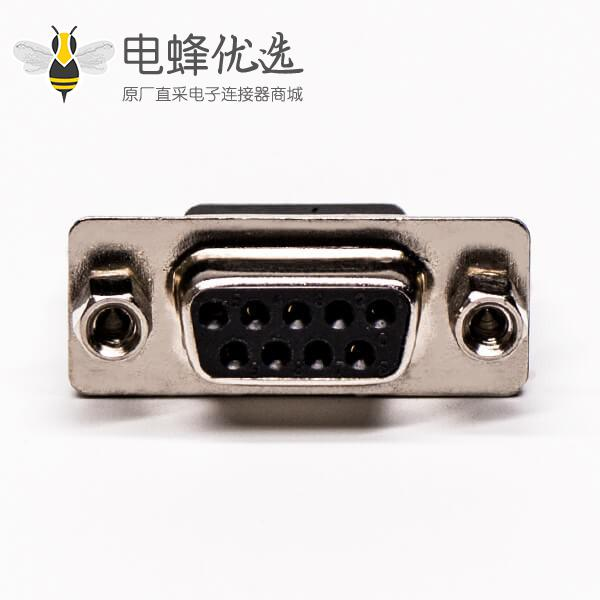 d-sub连接器9针母头铆锁螺母直式插孔接PCB板