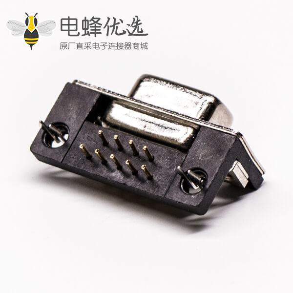 9pin d-sub母座弯头塑胶支架铆锁式带鱼叉插板